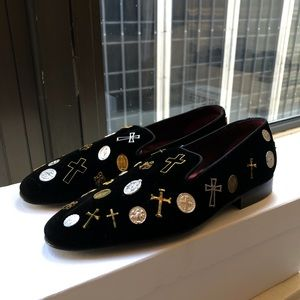 Louis Leeman Men's Studded Velvet Loafers